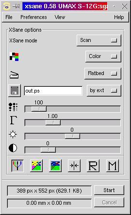 SANE-UMAX documentation - options